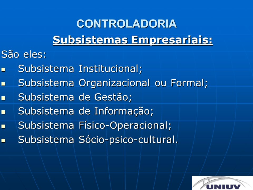 Subsistemas Empresariais: