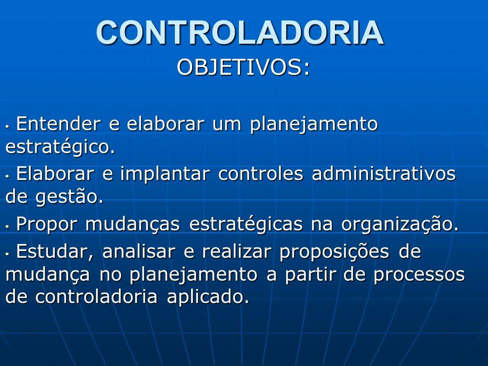 CONTROLADORIA OBJETIVOS: