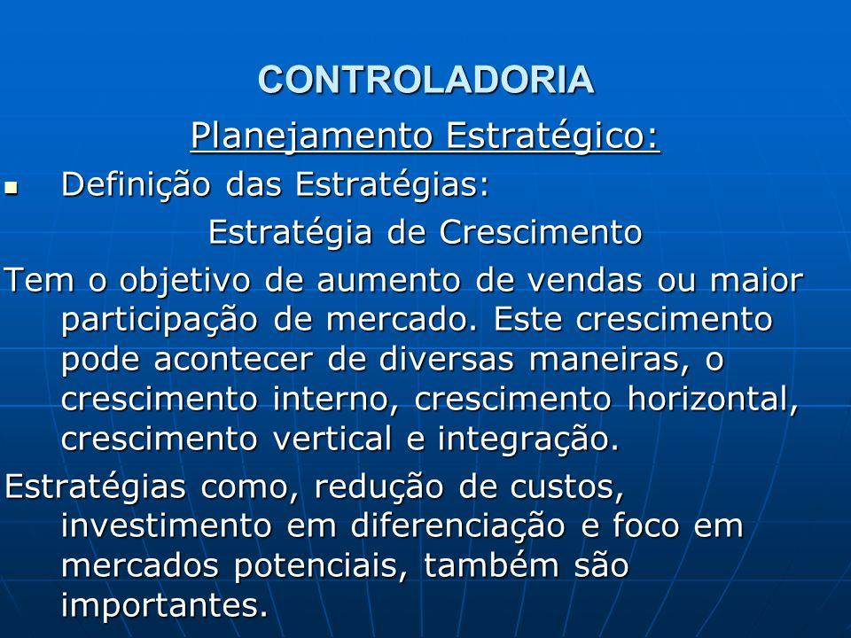 CONTROLADORIA Planejamento Estratégico: Definição das Estratégias: