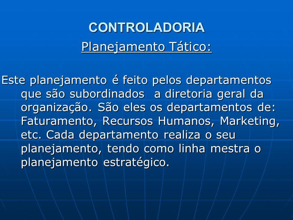CONTROLADORIA Planejamento Tático: