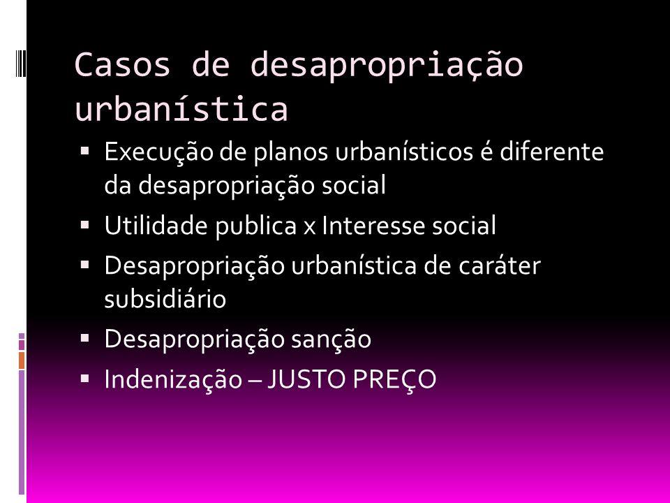 Casos de desapropriação urbanística