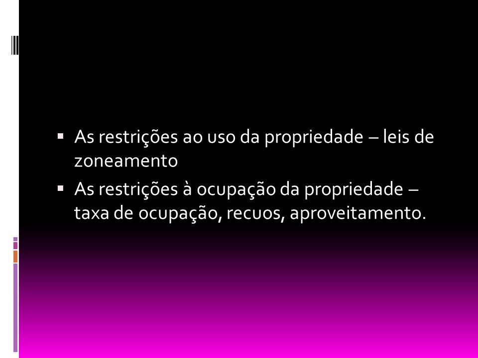As restrições ao uso da propriedade – leis de zoneamento