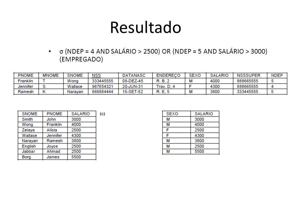 Resultado σ (NDEP = 4 AND SALÁRIO > 2500) OR (NDEP = 5 AND SALÁRIO > 3000) (EMPREGADO)