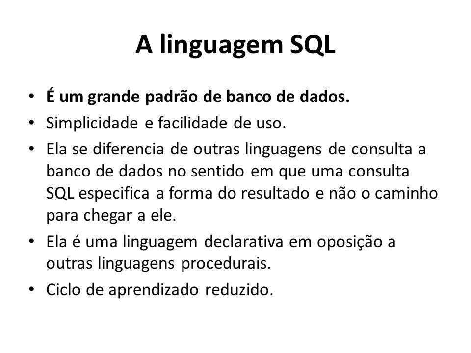 A linguagem SQL É um grande padrão de banco de dados.