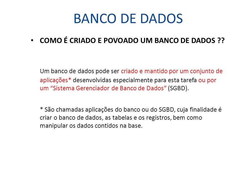 BANCO DE DADOS COMO É CRIADO E POVOADO UM BANCO DE DADOS