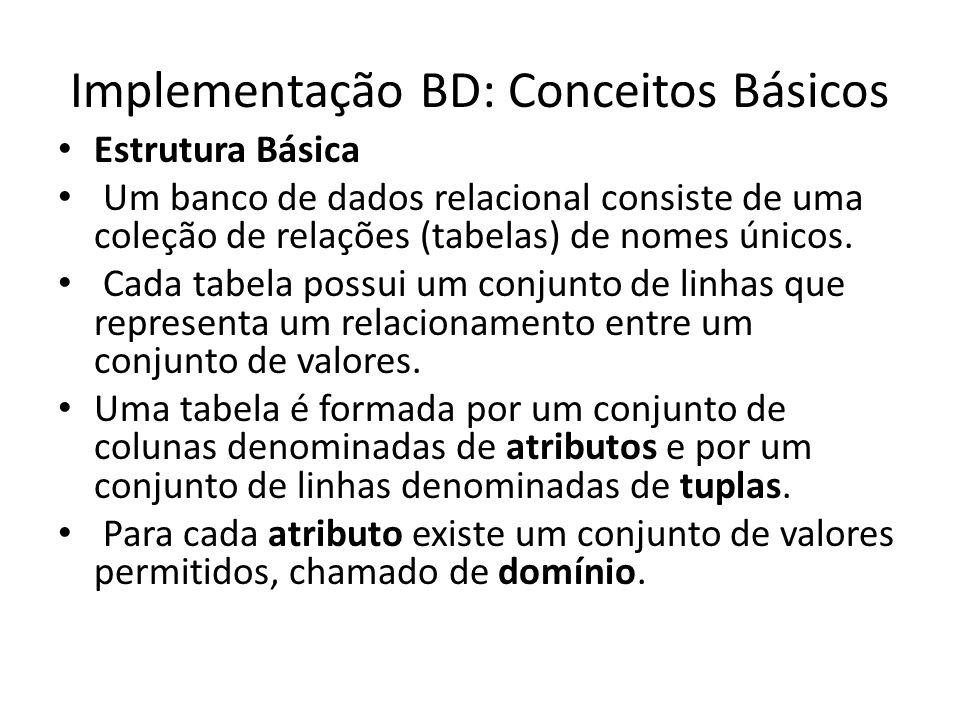 Implementação BD: Conceitos Básicos