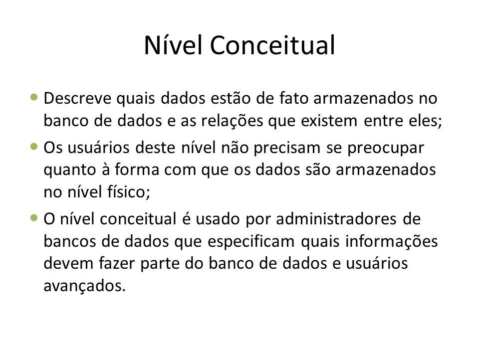 Nível Conceitual Descreve quais dados estão de fato armazenados no banco de dados e as relações que existem entre eles;