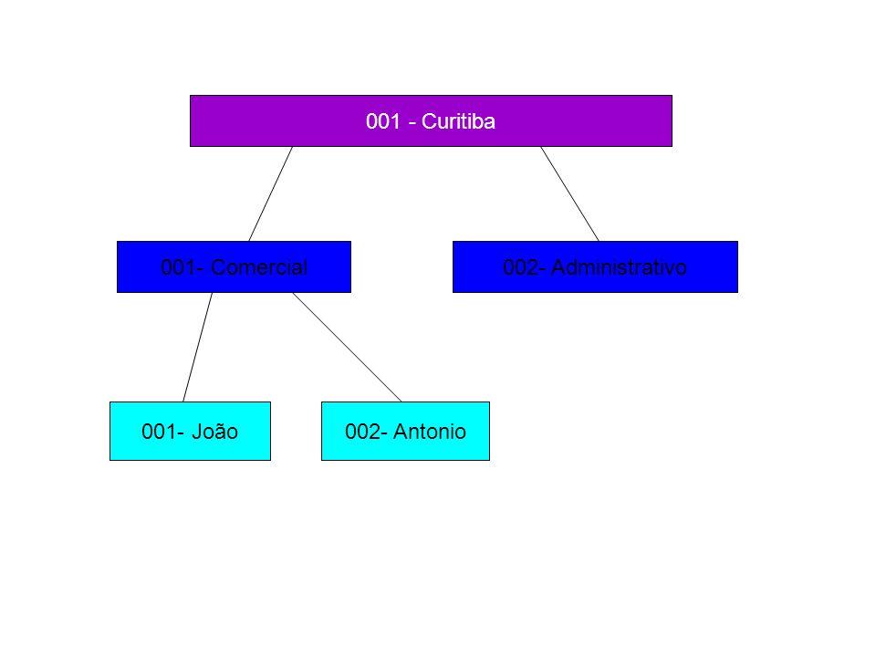 001 - Curitiba 001- Comercial 002- Administrativo 001- João 002- Antonio