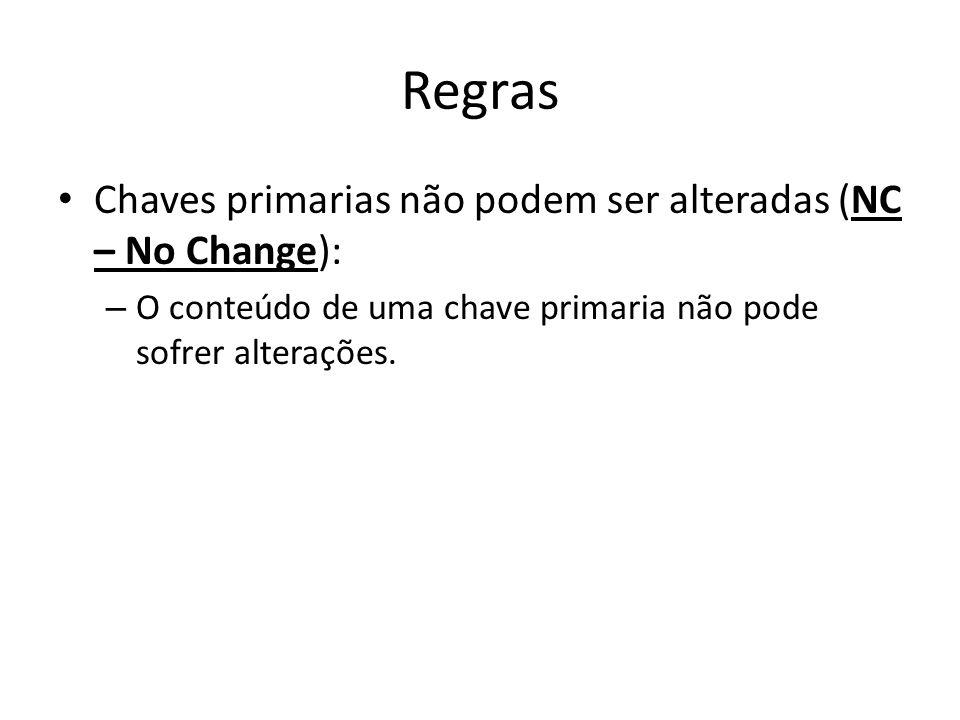 Regras Chaves primarias não podem ser alteradas (NC – No Change):