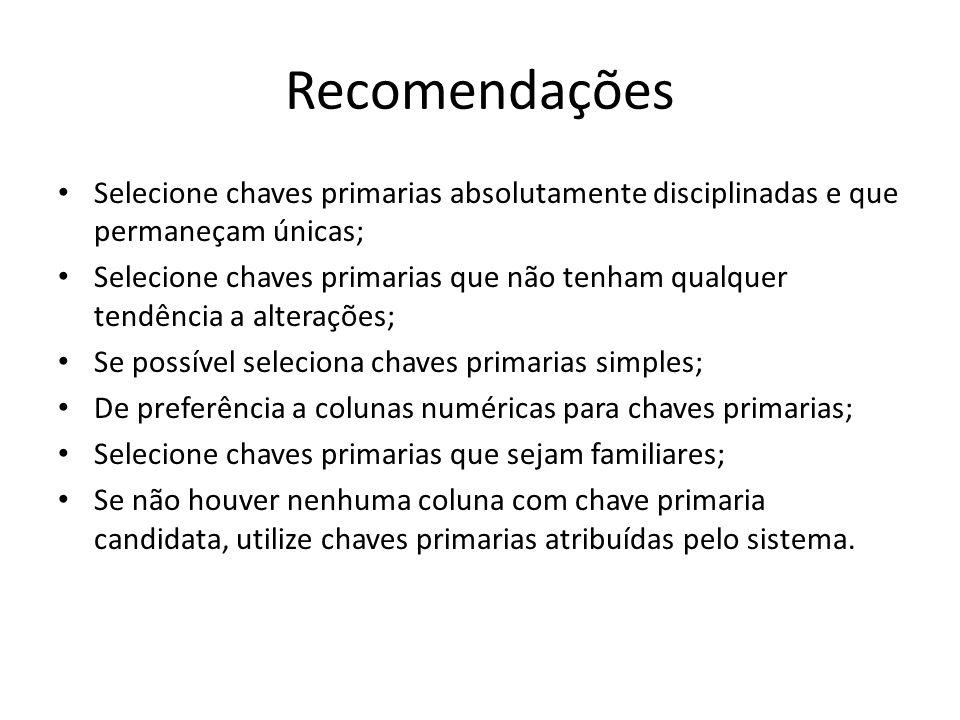 Recomendações Selecione chaves primarias absolutamente disciplinadas e que permaneçam únicas;