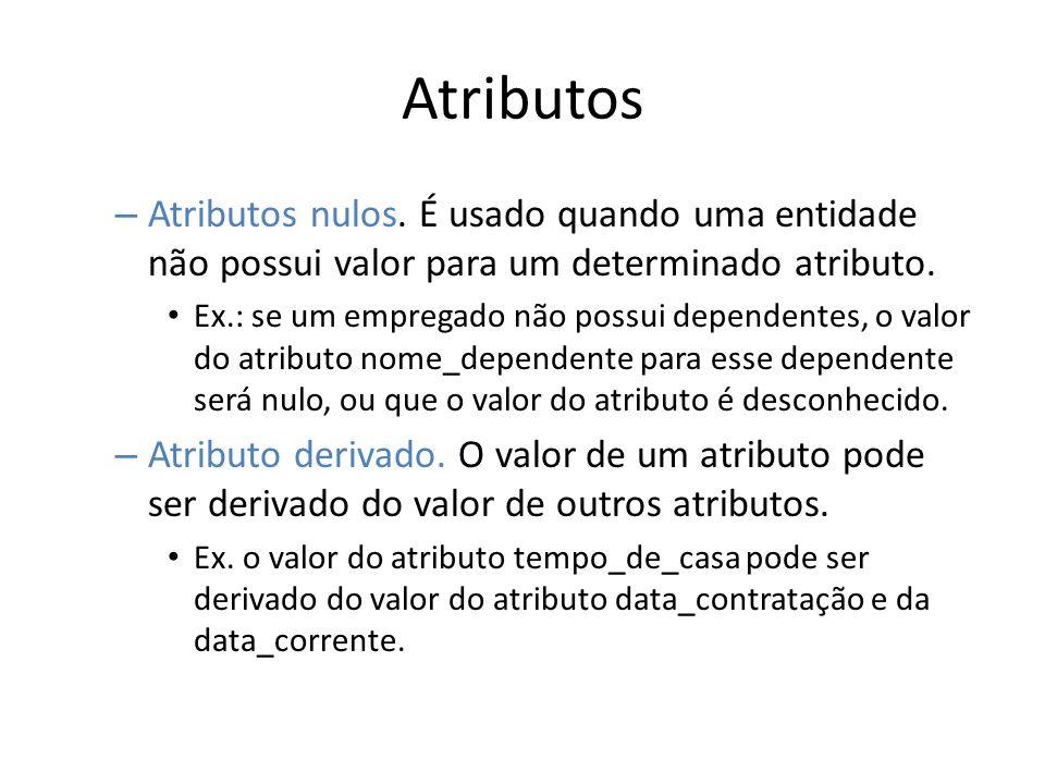 Atributos Atributos nulos. É usado quando uma entidade não possui valor para um determinado atributo.