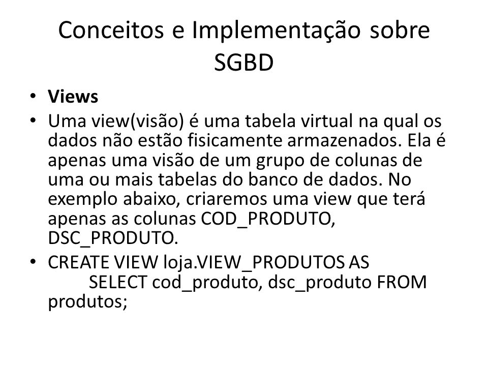 Conceitos e Implementação sobre SGBD