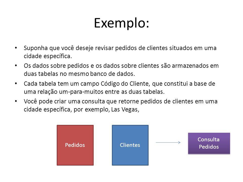 Exemplo:Suponha que você deseje revisar pedidos de clientes situados em uma cidade específica.