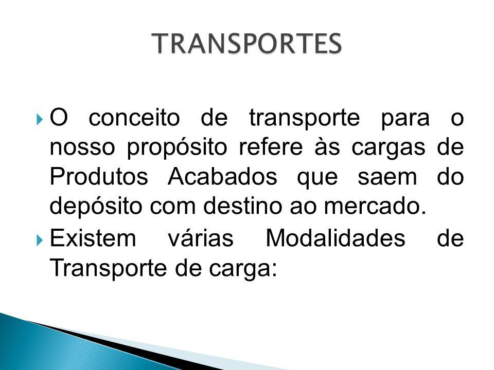 TRANSPORTES O conceito de transporte para o nosso propósito refere às cargas de Produtos Acabados que saem do depósito com destino ao mercado.