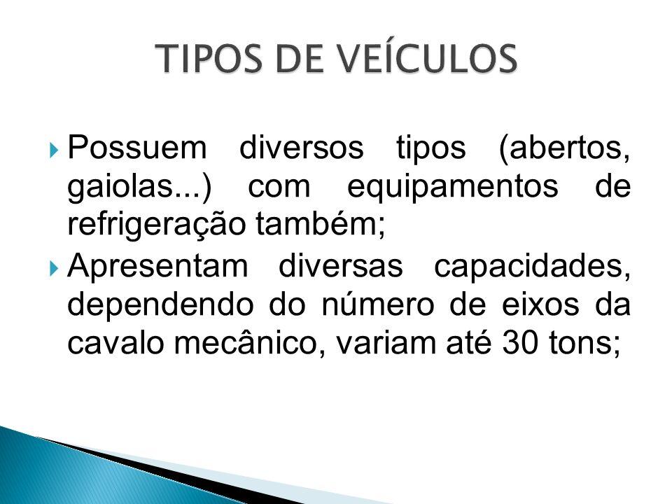 TIPOS DE VEÍCULOS Possuem diversos tipos (abertos, gaiolas...) com equipamentos de refrigeração também;