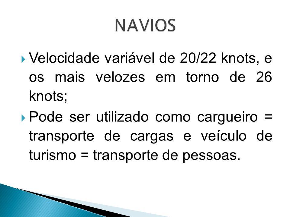 NAVIOS Velocidade variável de 20/22 knots, e os mais velozes em torno de 26 knots;