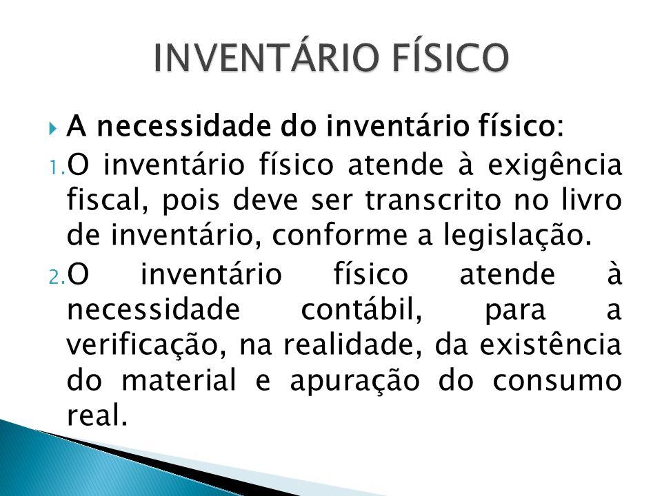 INVENTÁRIO FÍSICO A necessidade do inventário físico: