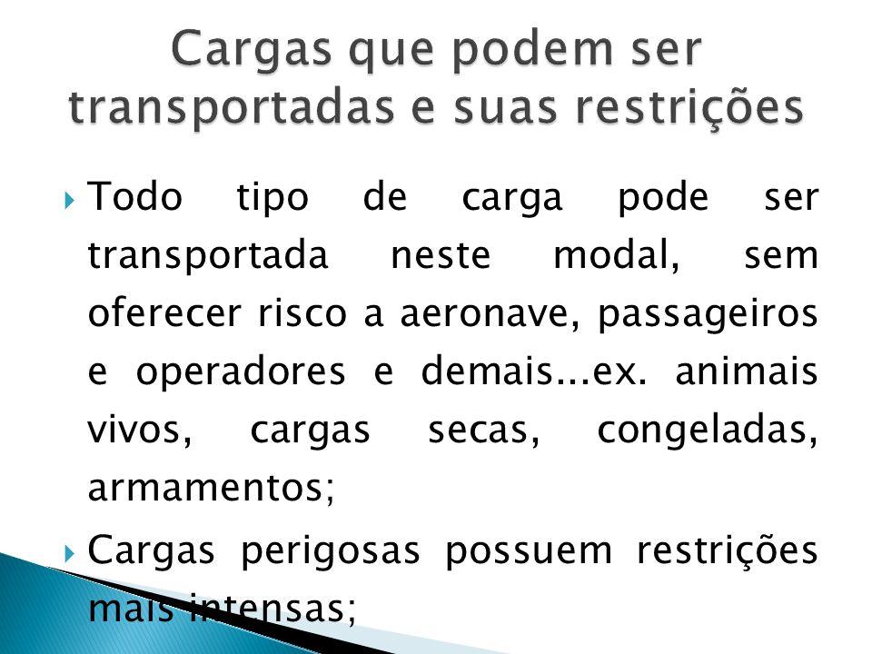 Cargas que podem ser transportadas e suas restrições