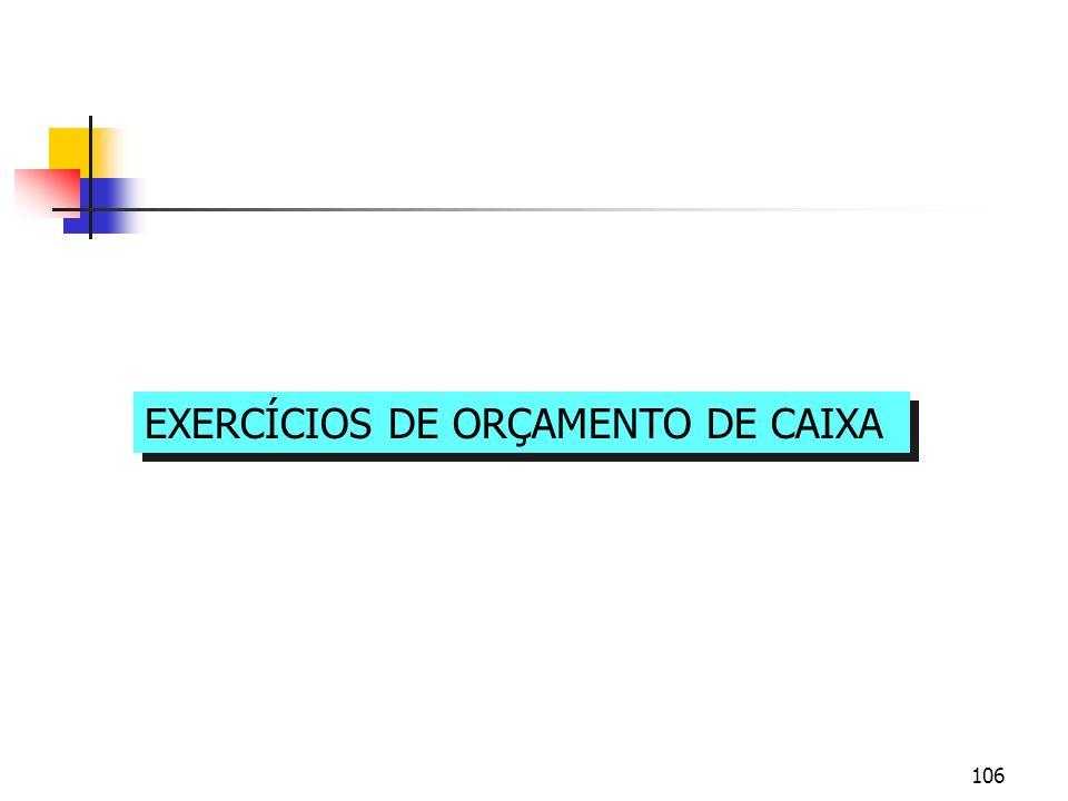 EXERCÍCIOS DE ORÇAMENTO DE CAIXA