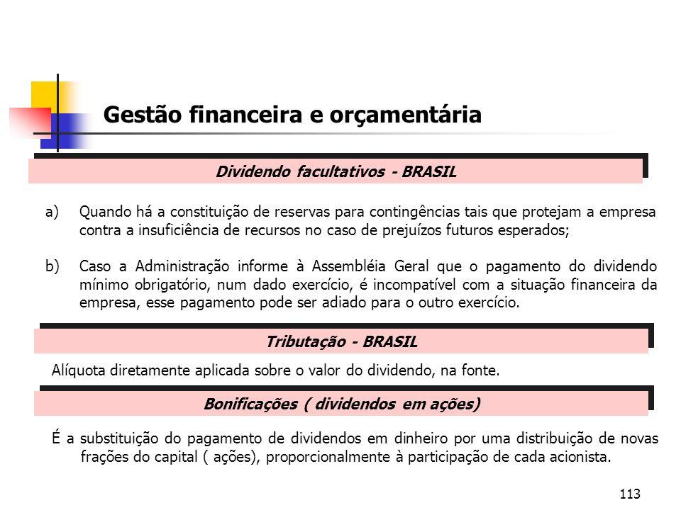 Dividendo facultativos - BRASIL Bonificações ( dividendos em ações)