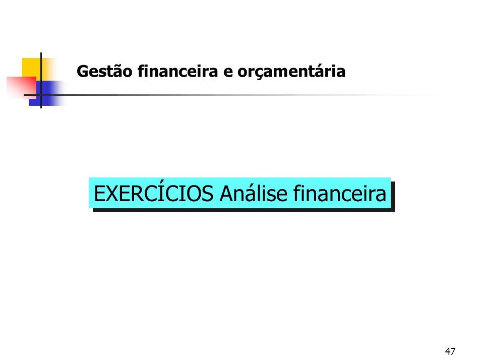 EXERCÍCIOS Análise financeira