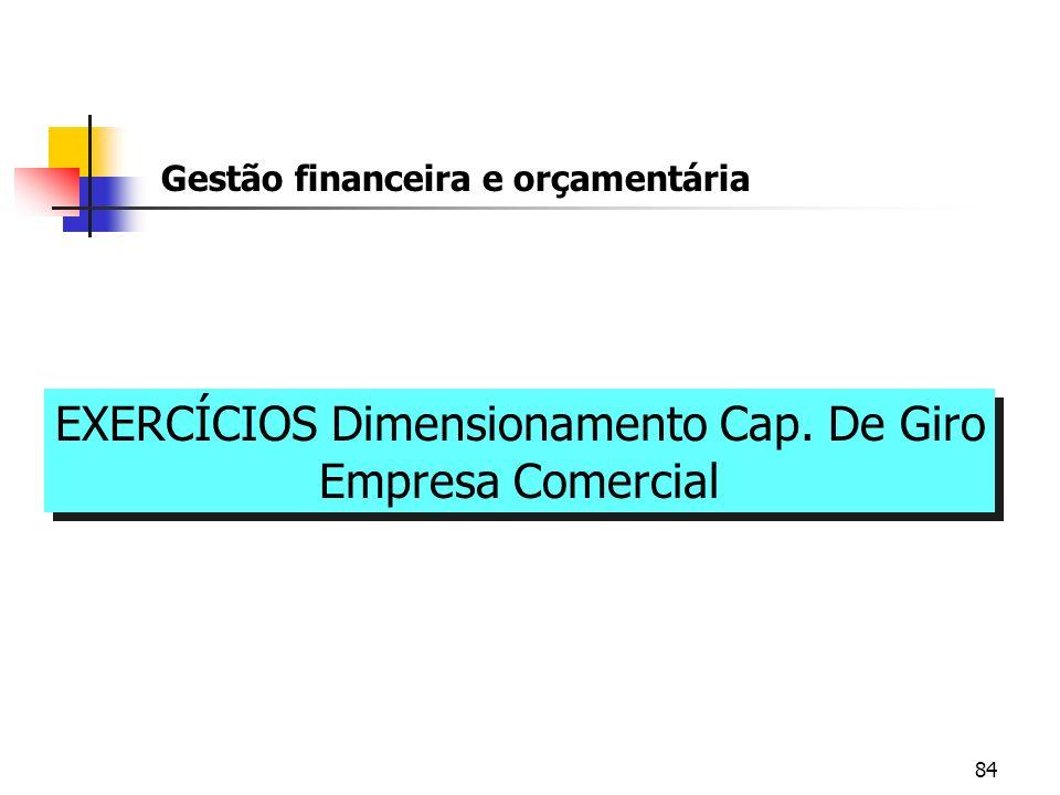 EXERCÍCIOS Dimensionamento Cap. De Giro
