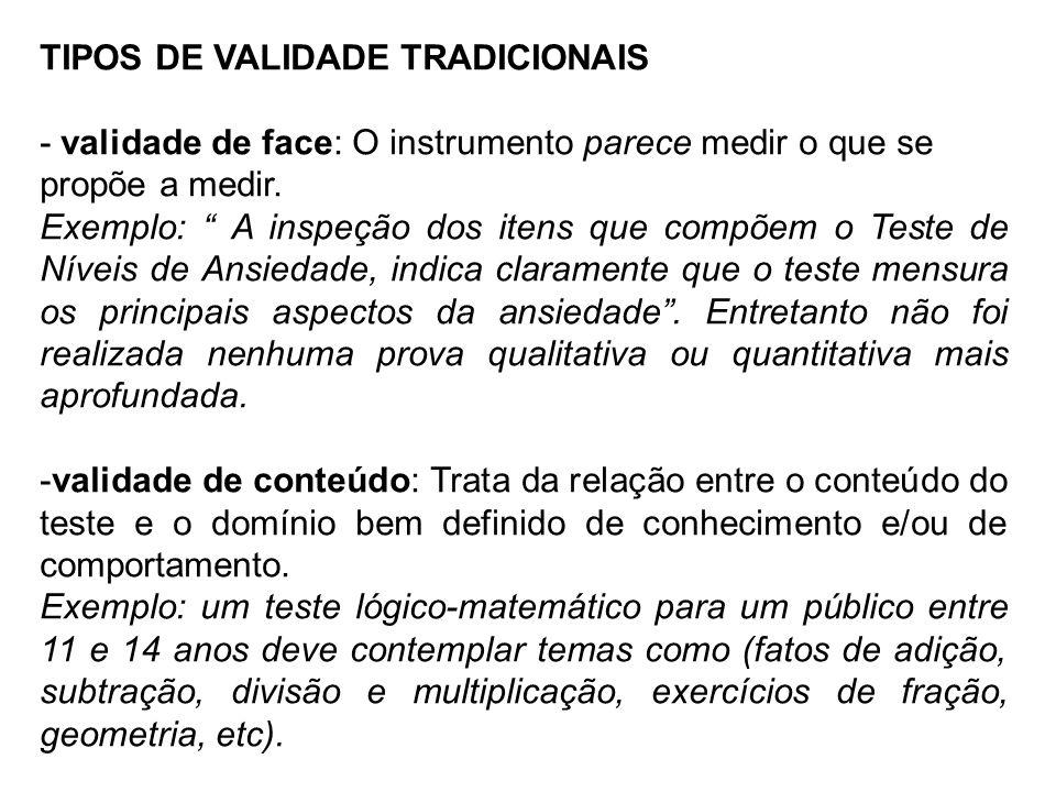 TIPOS DE VALIDADE TRADICIONAIS