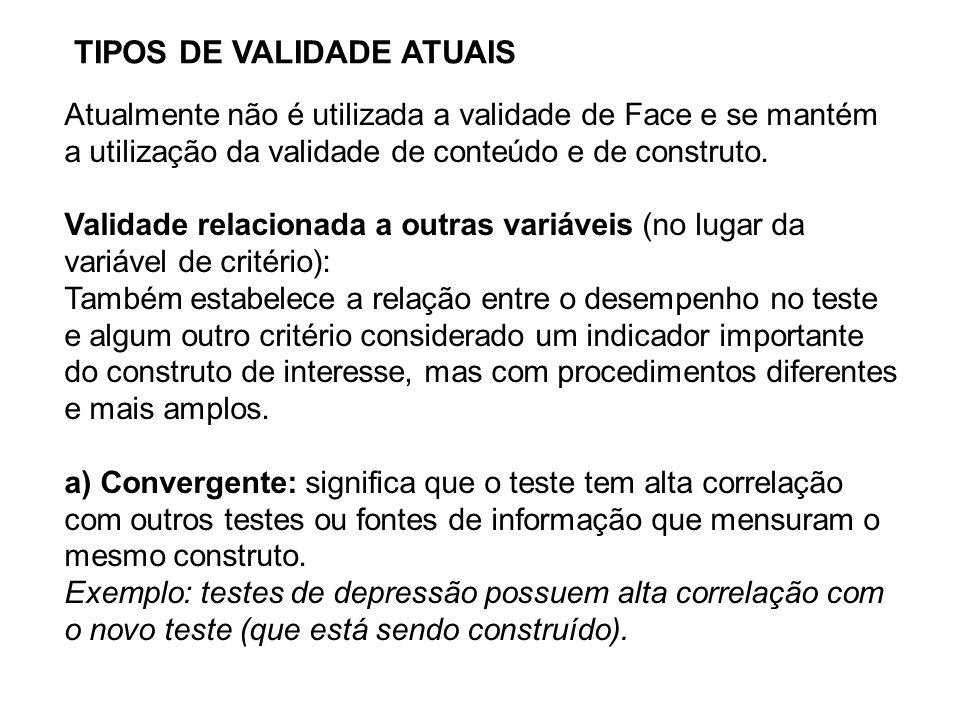 TIPOS DE VALIDADE ATUAIS