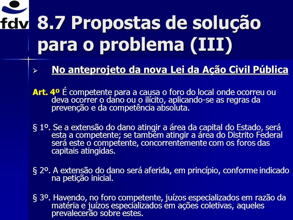 8.7 Propostas de solução para o problema (III)