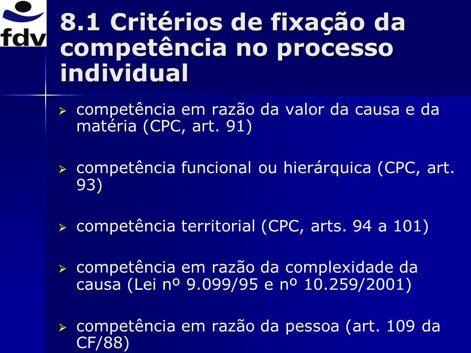 8.1 Critérios de fixação da competência no processo individual
