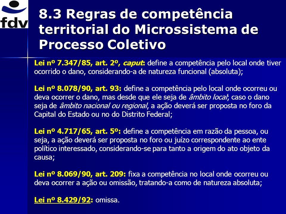 8.3 Regras de competência territorial do Microssistema de Processo Coletivo
