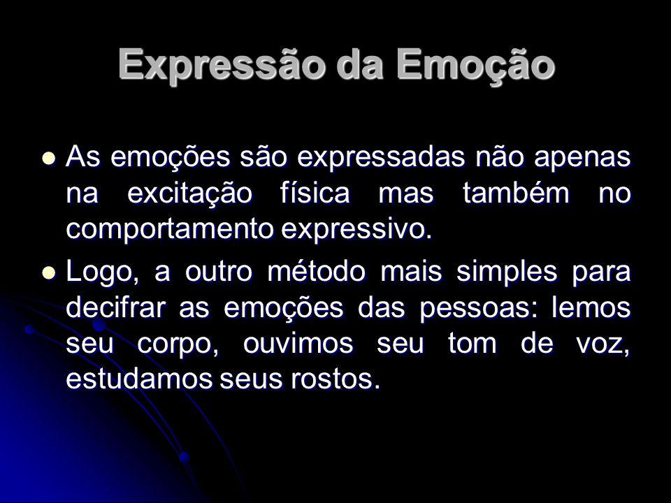 Expressão da Emoção As emoções são expressadas não apenas na excitação física mas também no comportamento expressivo.