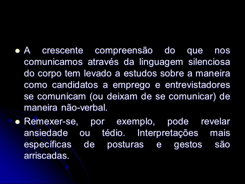 A crescente compreensão do que nos comunicamos através da linguagem silenciosa do corpo tem levado a estudos sobre a maneira como candidatos a emprego e entrevistadores se comunicam (ou deixam de se comunicar) de maneira não-verbal.