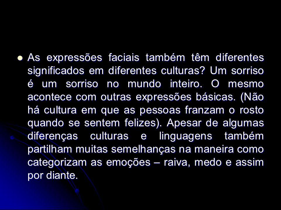 As expressões faciais também têm diferentes significados em diferentes culturas.