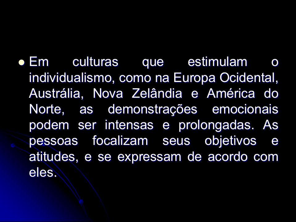 Em culturas que estimulam o individualismo, como na Europa Ocidental, Austrália, Nova Zelândia e América do Norte, as demonstrações emocionais podem ser intensas e prolongadas.