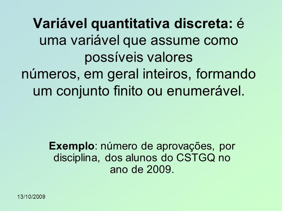 Variável quantitativa discreta: é uma variável que assume como possíveis valores números, em geral inteiros, formando um conjunto finito ou enumerável.