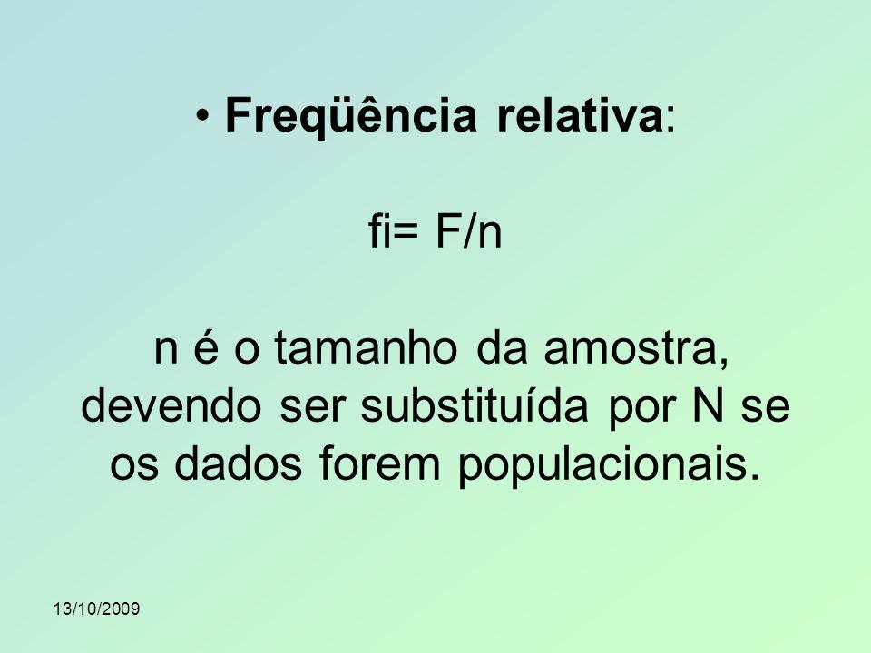 • Freqüência relativa: fi= F/n n é o tamanho da amostra, devendo ser substituída por N se os dados forem populacionais.