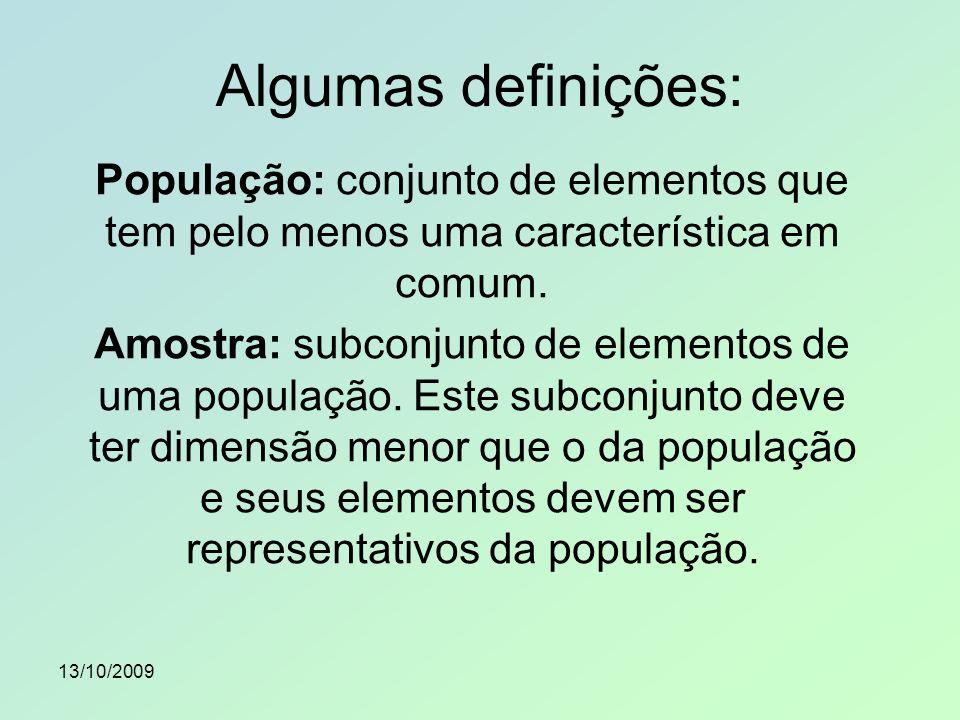 Algumas definições: População: conjunto de elementos que tem pelo menos uma característica em comum.
