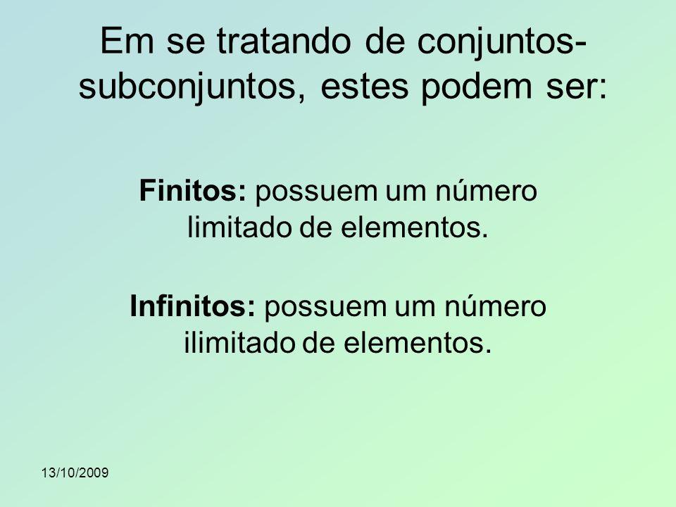 Em se tratando de conjuntos-subconjuntos, estes podem ser: