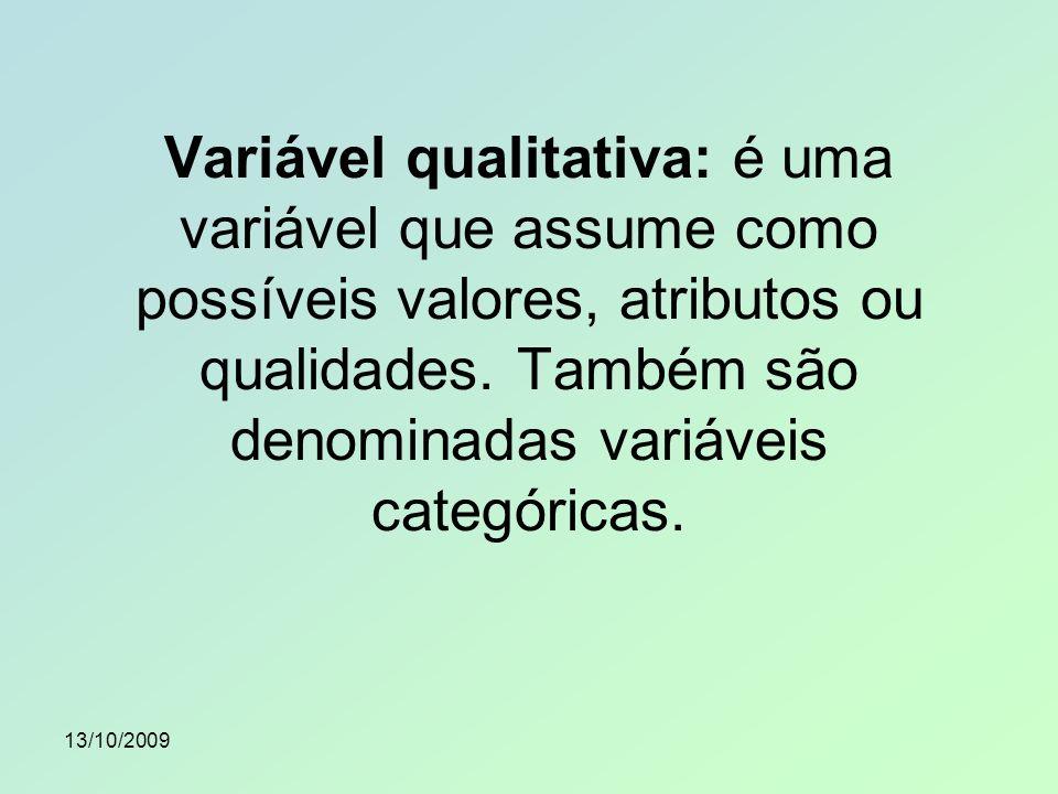 Variável qualitativa: é uma variável que assume como possíveis valores, atributos ou qualidades. Também são denominadas variáveis categóricas.