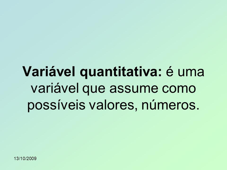 Variável quantitativa: é uma variável que assume como possíveis valores, números.