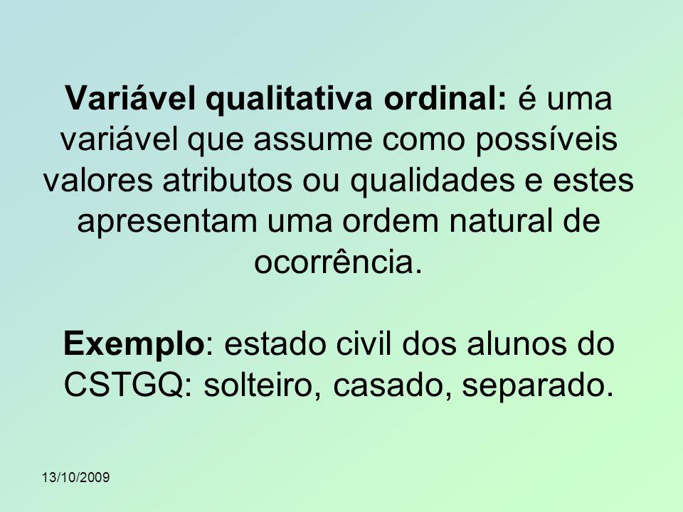 Variável qualitativa ordinal: é uma variável que assume como possíveis valores atributos ou qualidades e estes apresentam uma ordem natural de ocorrência. Exemplo: estado civil dos alunos do CSTGQ: solteiro, casado, separado.