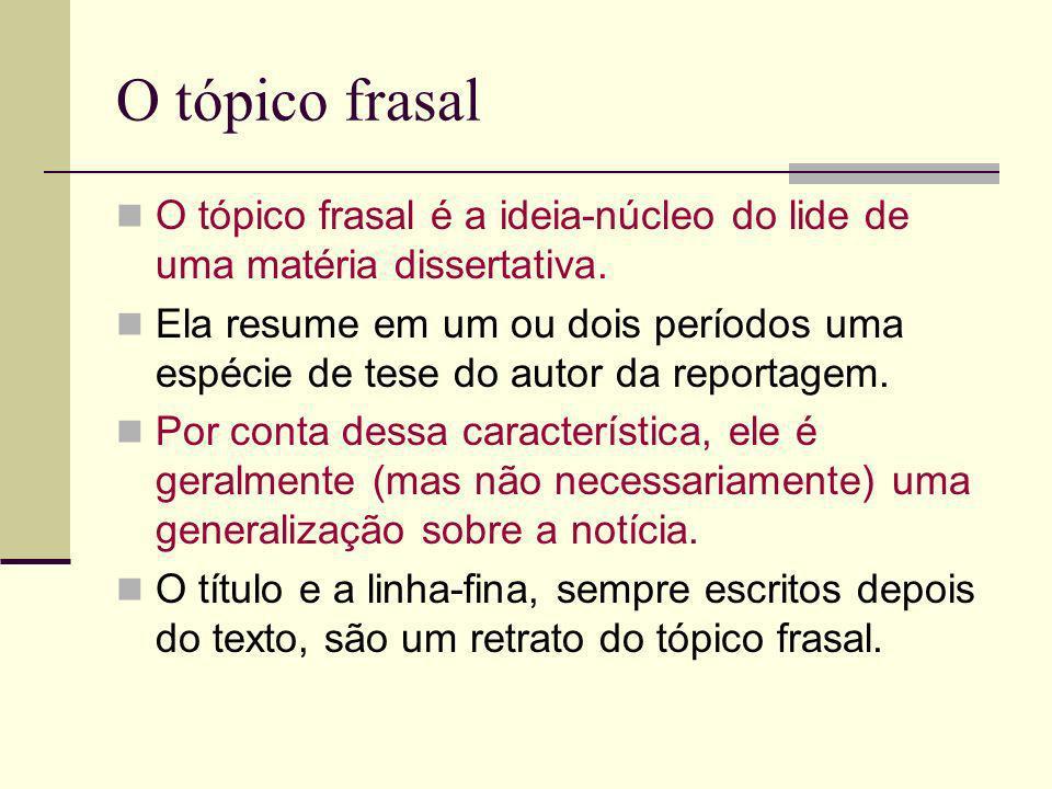O tópico frasalO tópico frasal é a ideia-núcleo do lide de uma matéria dissertativa.
