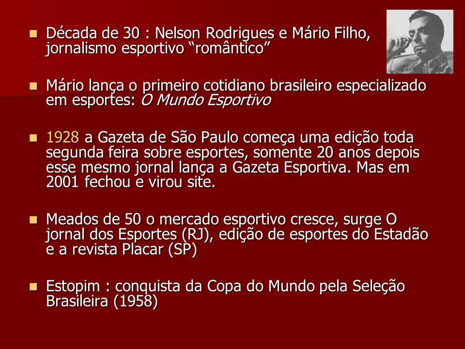 Década de 30 : Nelson Rodrigues e Mário Filho, jornalismo esportivo romântico