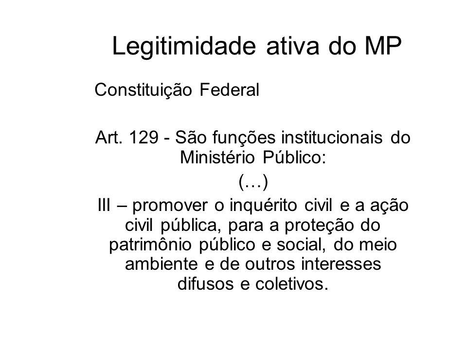 Legitimidade ativa do MP