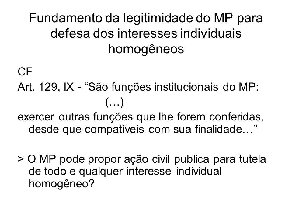 Fundamento da legitimidade do MP para defesa dos interesses individuais homogêneos