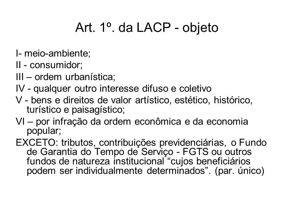 Art. 1º. da LACP - objeto I- meio-ambiente; II - consumidor;
