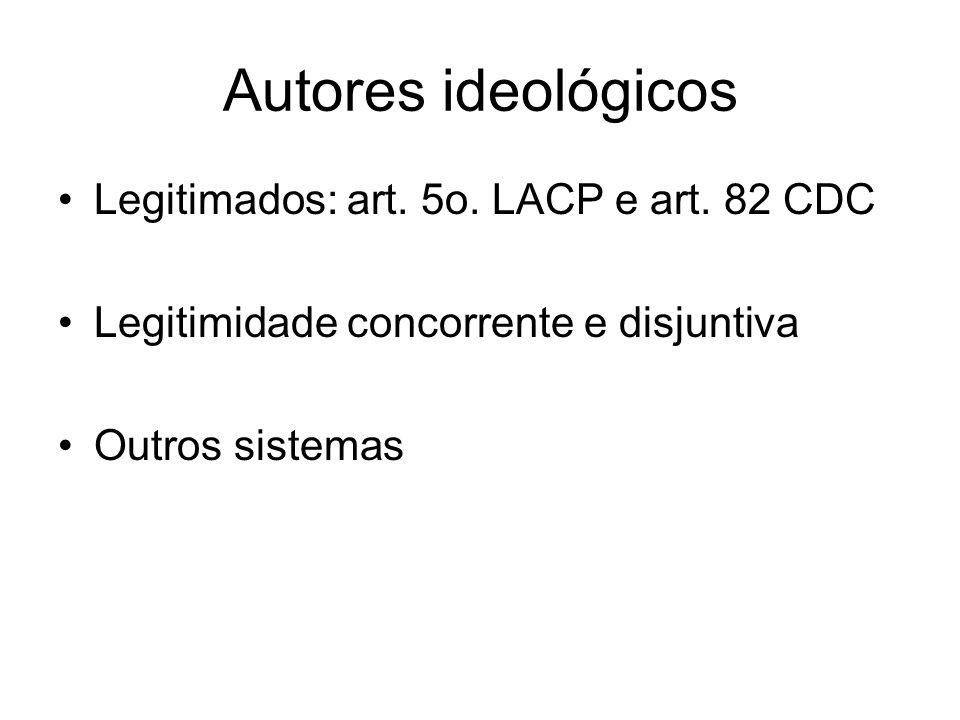 Autores ideológicos Legitimados: art. 5o. LACP e art. 82 CDC