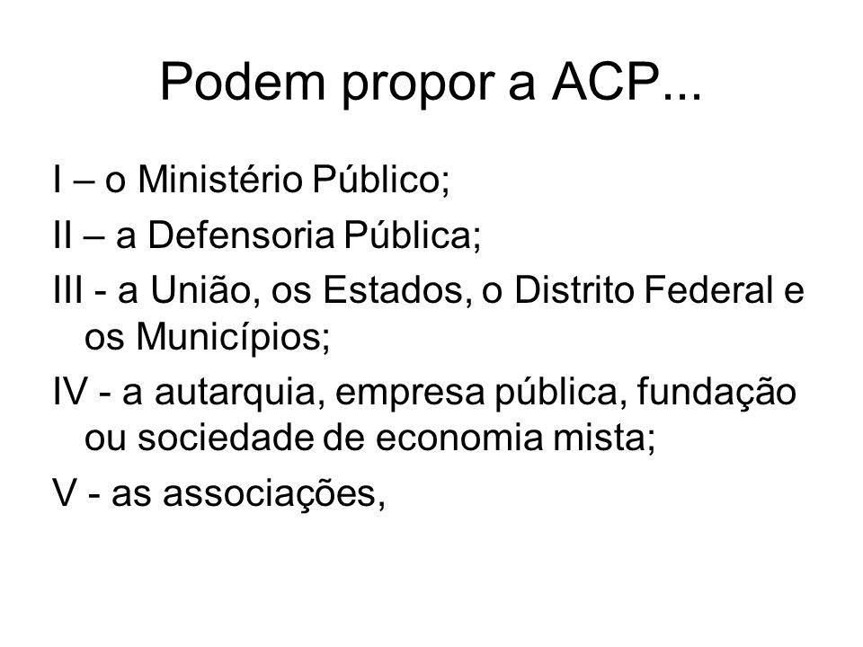 Podem propor a ACP... I – o Ministério Público;
