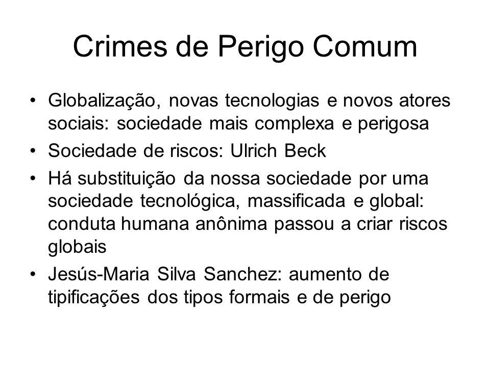 Crimes de Perigo Comum Globalização, novas tecnologias e novos atores sociais: sociedade mais complexa e perigosa.